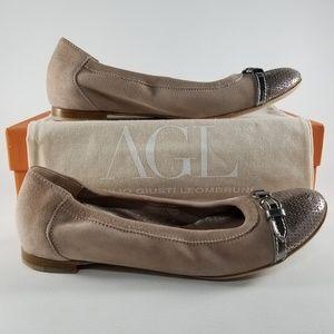 AGL Ballerina Suede Cap Toe Buckle Flats EUR 40
